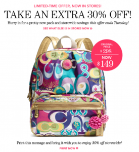 couch outlet coupon 30% off backpack