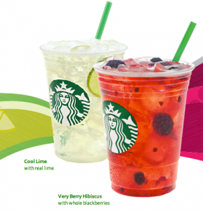 Free Starbucks Refreshers Drink Very Berry Hibiscus Cool Lime