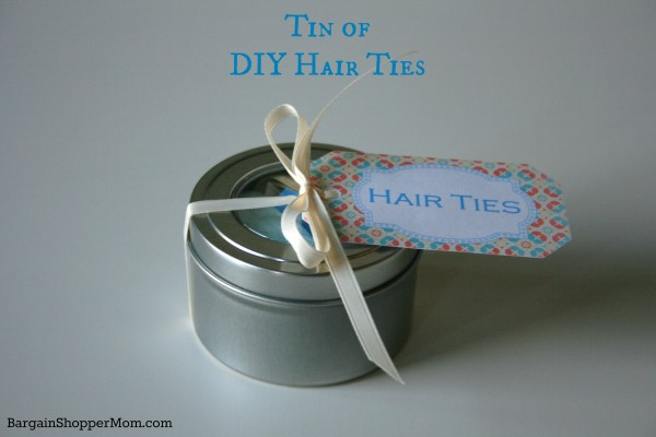 Tin of DIY Hair Ties with Free Printable Tag